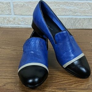 Chocolate Blu Two Toned Loafers Color block Blue